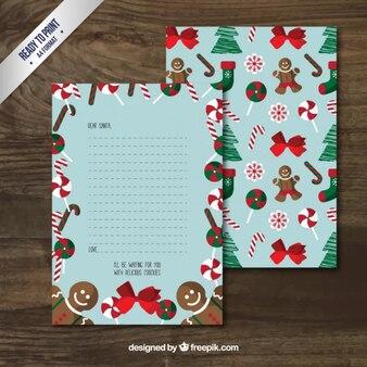 Carta de santa claus con dulces navideños