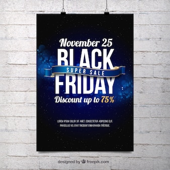 Cartel abstracto azul de viernes negro
