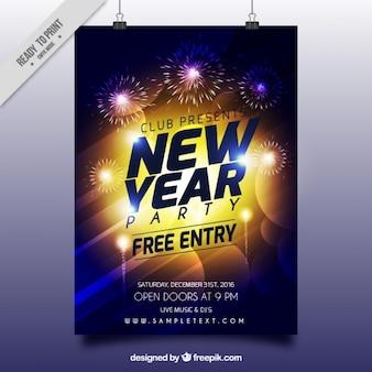Cartel abstracto brillante de año nuevo