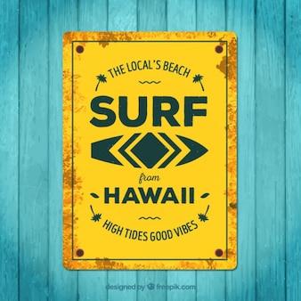 Cartel amarillo de surf en estilo vintage