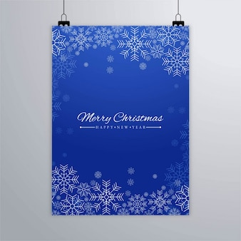 Cartel azul de copos de nieve
