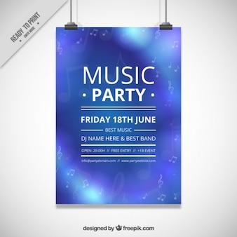 Cartel azul de fiesta de música con notas musicales