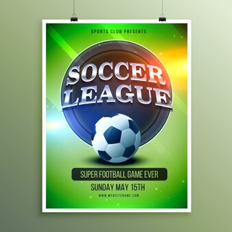 Cartel brillante de la liga de fútbol