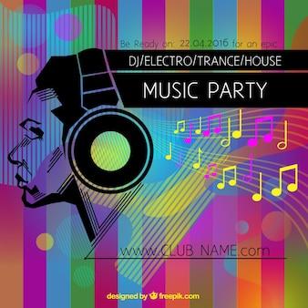 Cartel colorido de fiesta de música