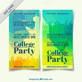 Cartel con acuarelas para fiesta universitaria