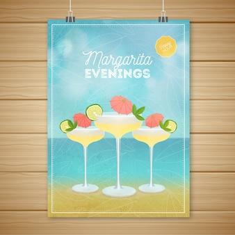 Cartel con cócteles deliciosos y playa