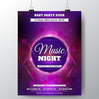 Cartel con luces púrpuras para un festival de música