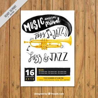 Cartel de acuarela de festival de jazz