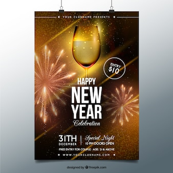 Cartel de año nuevo de vaso de champane dorado