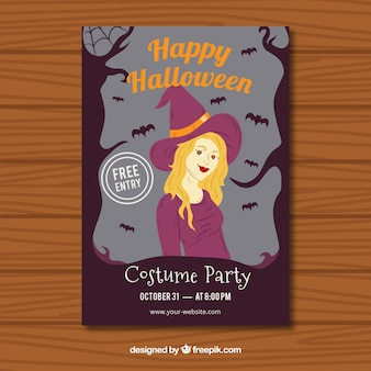 Cartel de bruja de halloween