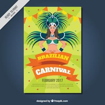 Cartel de carnaval con brasileña