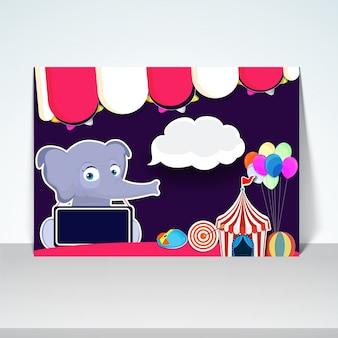 Cartel de Carnaval niños, diseño de la bandera con la ilustración de elefante lindo y otros elementos