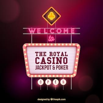 Cartel de casino con diseño de bienvenida