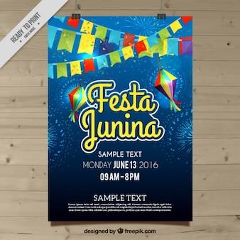 Cartel de celebración de fiesta junina