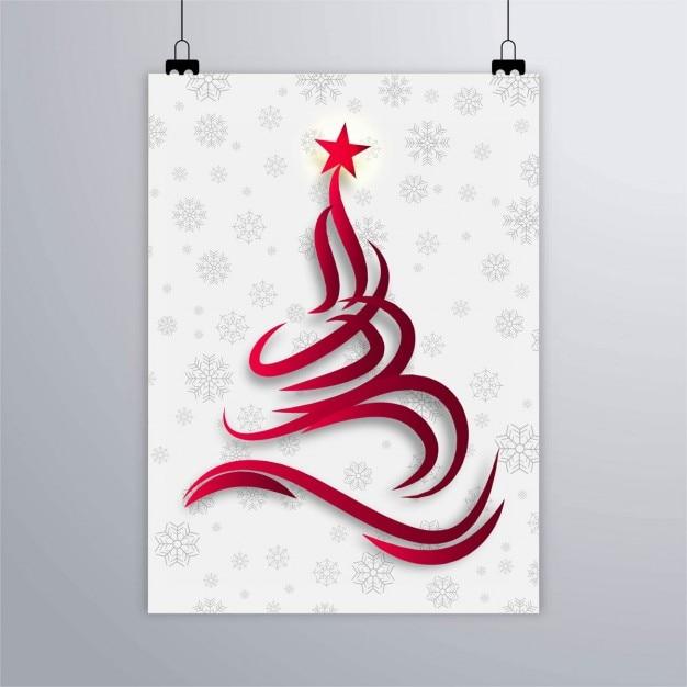 cartel de copos de nieve con rbol abstracto de navidad abstracto