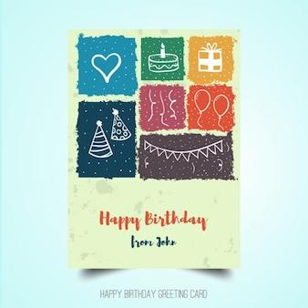 Cartel de cumpleaños dibujado a mano
