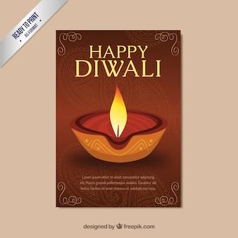 Cartel de Feliz Diwali con una vela
