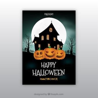 Cartel de feliz halloween con casa encantada y calabazas