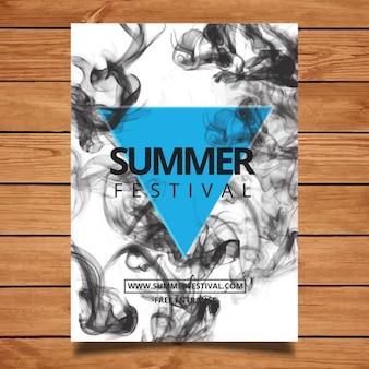 Cartel de festival con humo