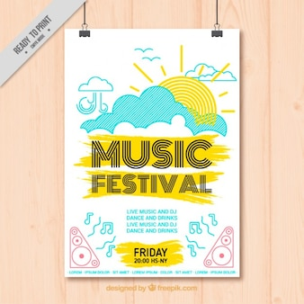 Cartel de festival de música alegre dibujado a mano