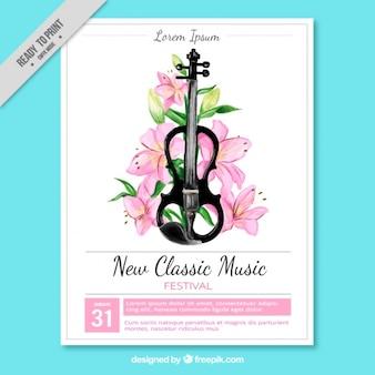 Cartel de festival de música clásica con guitarra y decoración floral