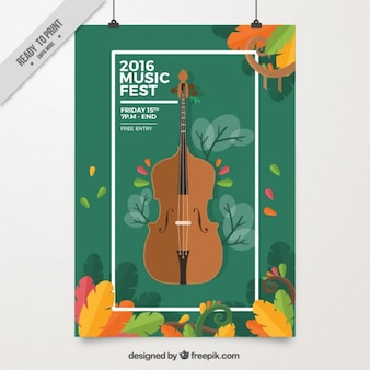 Cartel de festival de música con violonchelo