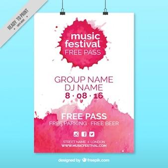 Cartel de festival de música de acuarela rosa
