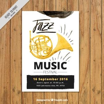 Cartel de festival de música de jazz en efecto acuarela