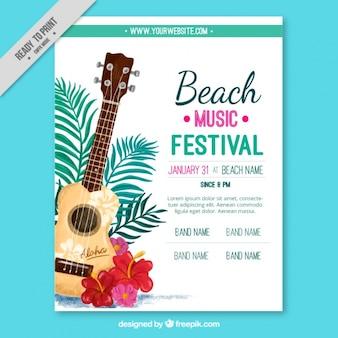Cartel de festival de música de la playa con guitarra
