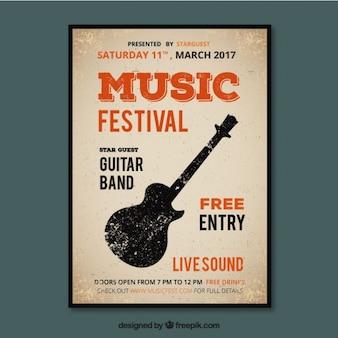 Cartel de festival de música en estilo vintage