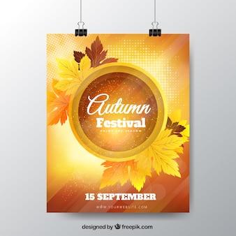 Cartel de festival de otoño con hojas secas