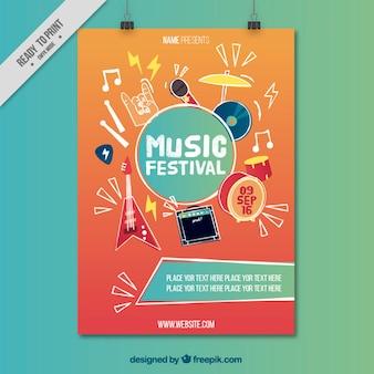 Cartel de festival musical con instrumentos musicales dibujados a mano