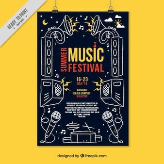 Cartel de fiesta con elementos de música dibujados a mano