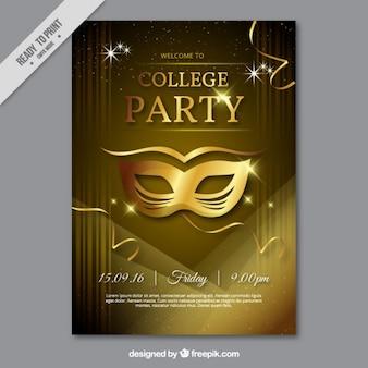 Cartel de fiesta con máscara dorada