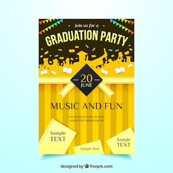 Cartel de fiesta con siluetas de estudiantes y papeles