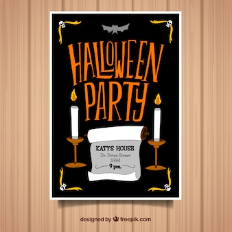 Cartel de fiesta d halloween con velas