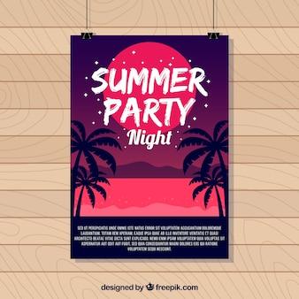 Cartel de fiesta d verano con palmeras