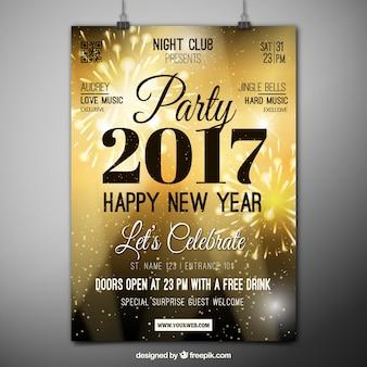 Cartel de fiesta de 2017 dorado con fuegos artificiales