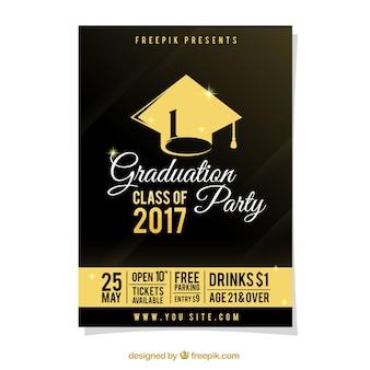 Cartel de fiesta de graduación con detalles dorados