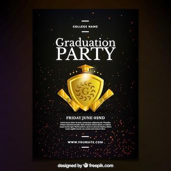 Cartel de fiesta de graduación con escudo dorado
