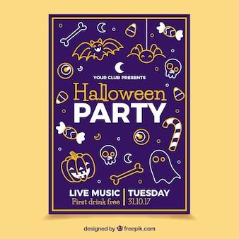 Cartel de fiesta de halloween con bocetos