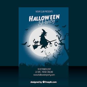 Cartel de fiesta de halloween con bruja y luna