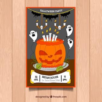Cartel de fiesta de halloween con calabaza dibujada a mano