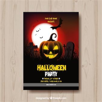Cartel de fiesta de halloween con calabaza iluminada