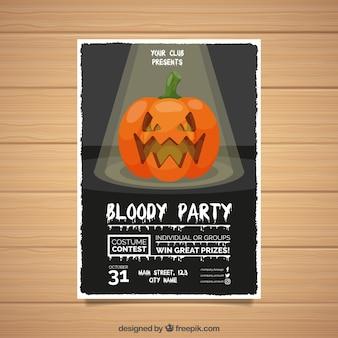 Cartel de fiesta de halloween con calabaza