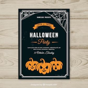 Cartel de fiesta de halloween con calabazas