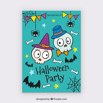 Cartel de fiesta de halloween con calaveras dibujadas a mano