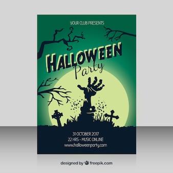 Cartel de fiesta de halloween con mano de zombi y luna