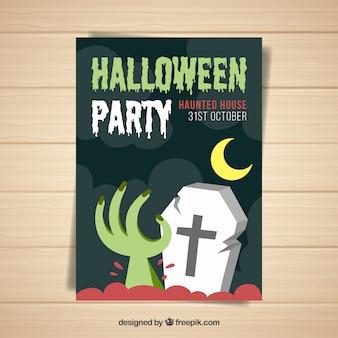 Cartel de fiesta de halloween con mano y tumba