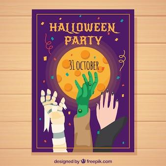 Cartel de fiesta de halloween con manos de personajes